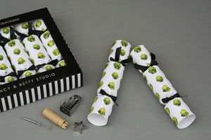 Nancy and Betty 6 Recyclable Luxury Christmas Crackers - Brussels Sprouts