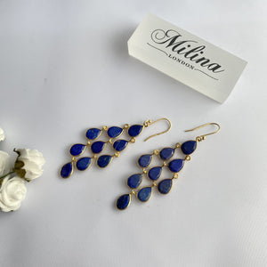 Gold Plated Sterling Silver Chandelier Earrings with Semi-Precious Stones - Lapis Lazuli