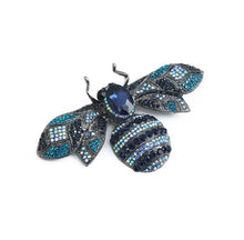 Load image into Gallery viewer, Navy Crystal Bee Brooch