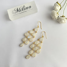 Load image into Gallery viewer, Gold Plated Sterling Silver Chandelier Earrings with Semi-Precious Stones - Moonstone