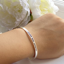 Load image into Gallery viewer, Sterling Silver Motivational Quote Bangle - Learn From Yesterday