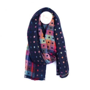 Navy And Multicolour Dotty Winter Scarf