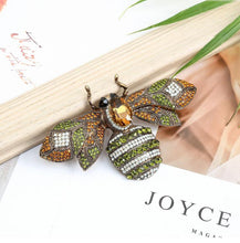Load image into Gallery viewer, Gold Crystal Bee Brooch