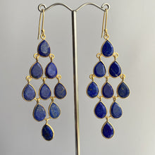 Load image into Gallery viewer, Gold Plated Sterling Silver Chandelier Earrings with Semi-Precious Stones - Lapis Lazuli