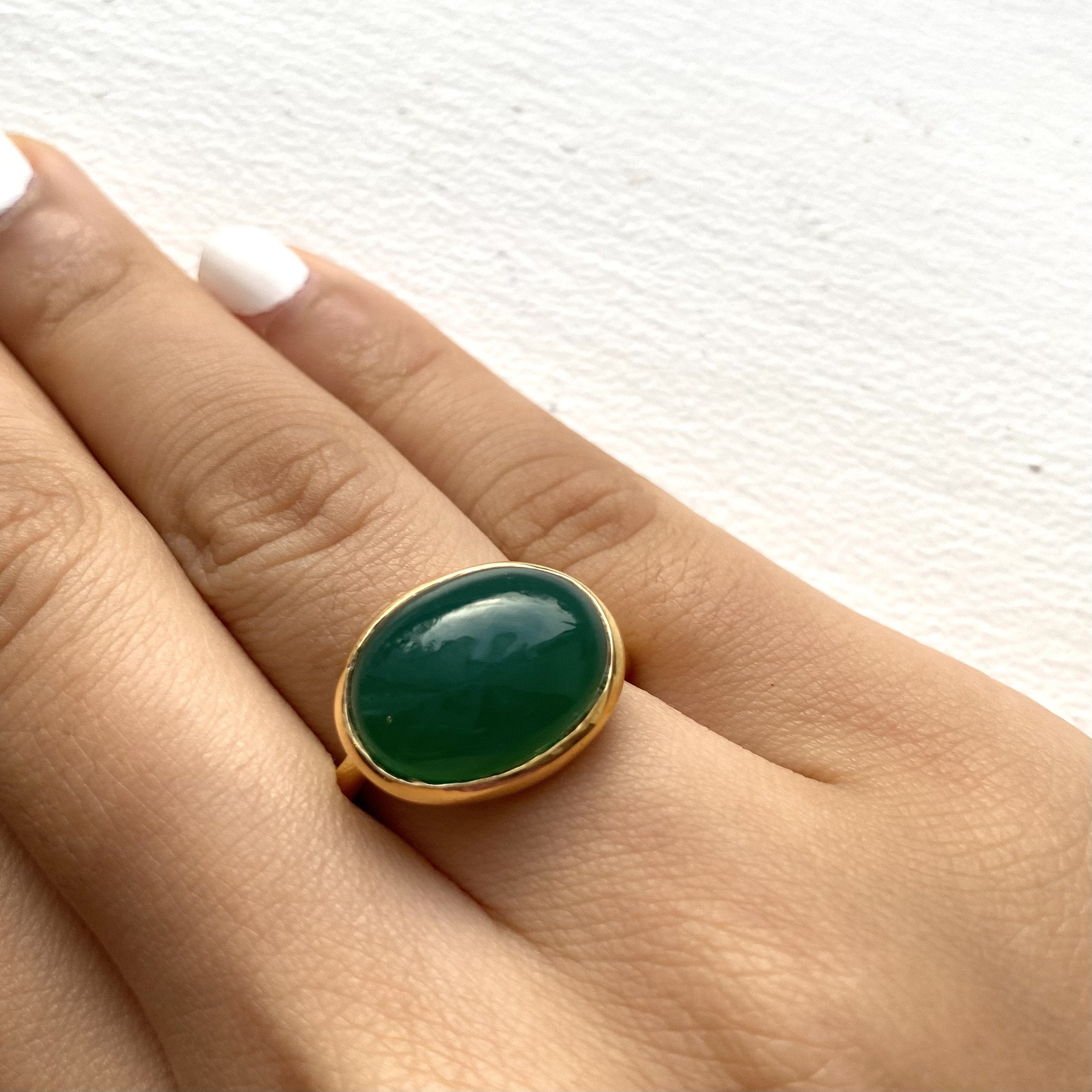 Cabochon Oval Cut Natural Gemstone Gold Plated Sterling Silver Ring - Green Onyx