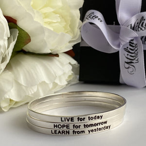 Sterling Silver Motivational Quote Bangle - Learn From Yesterday