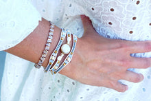 Load image into Gallery viewer, Pinatubo Cream & Gold 2 Layer Bracelet Stack