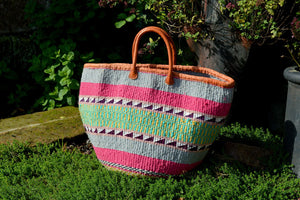 Large Woollen Kiondo Basket, Pale Blue, Pink, Check Pattern