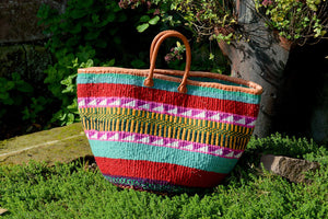Large Woollen Kiondo Basket, Turquoise, Red, Pink Check Pattern