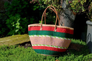 Woollen Kiondo Basket, Green, Red, Check Pattern