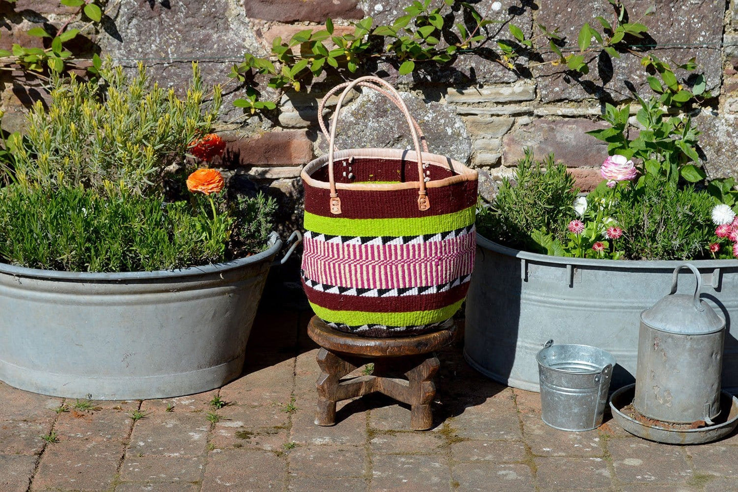 Woollen Kiondo Basket, Red, Green and Pink Stripes
