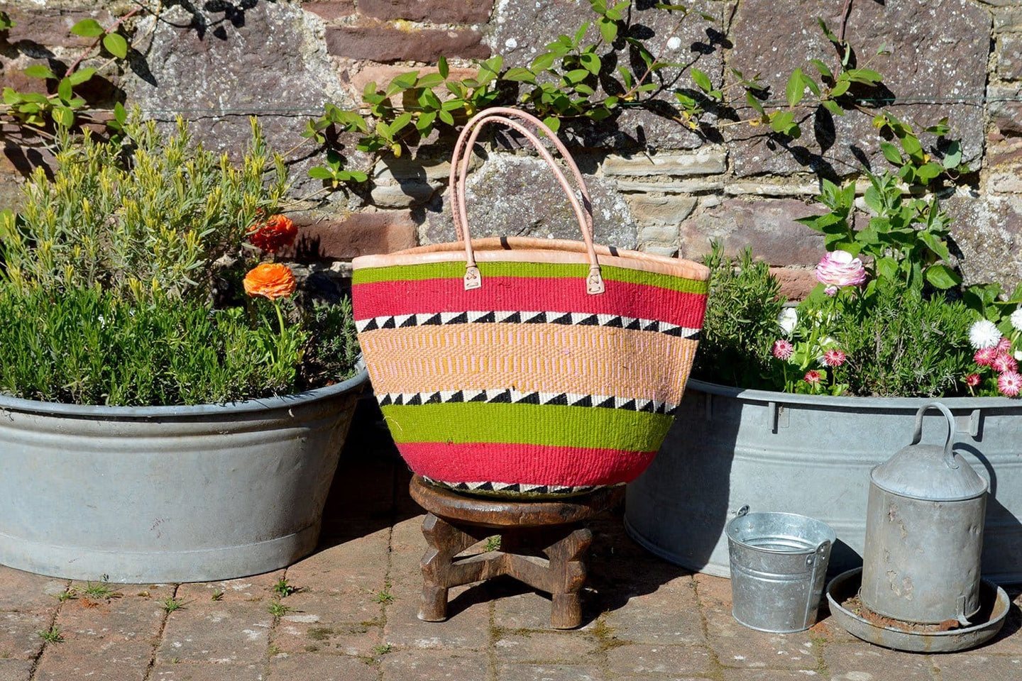 Woollen Kiondo Basket, Green, Pink and Yellow Stripes