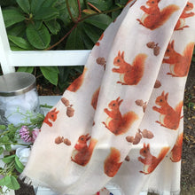 Load image into Gallery viewer, Squirrel Scarf - Cute Red Squirrel Print Scarf - Hand Printed in the UK - FREE personalisation