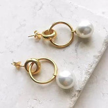 Load image into Gallery viewer, Layla Double Hoop Pearl Earrings
