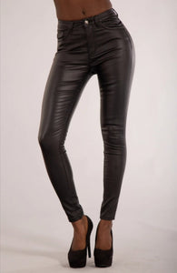 Leather Look High Waisted Jeans
