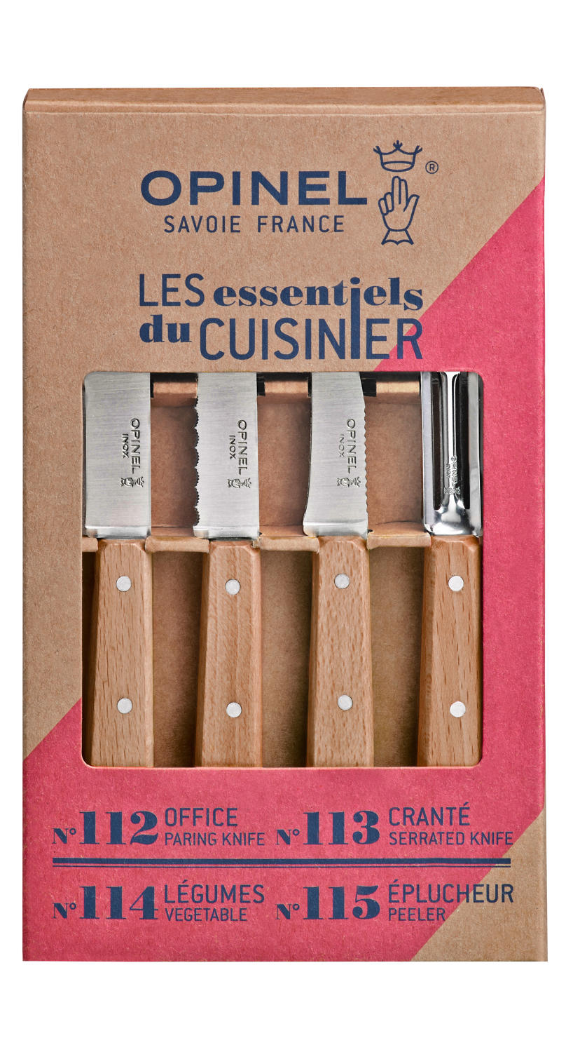Opinel 'Les Essentiels' Mixed set 4 kitchen knives - Beech