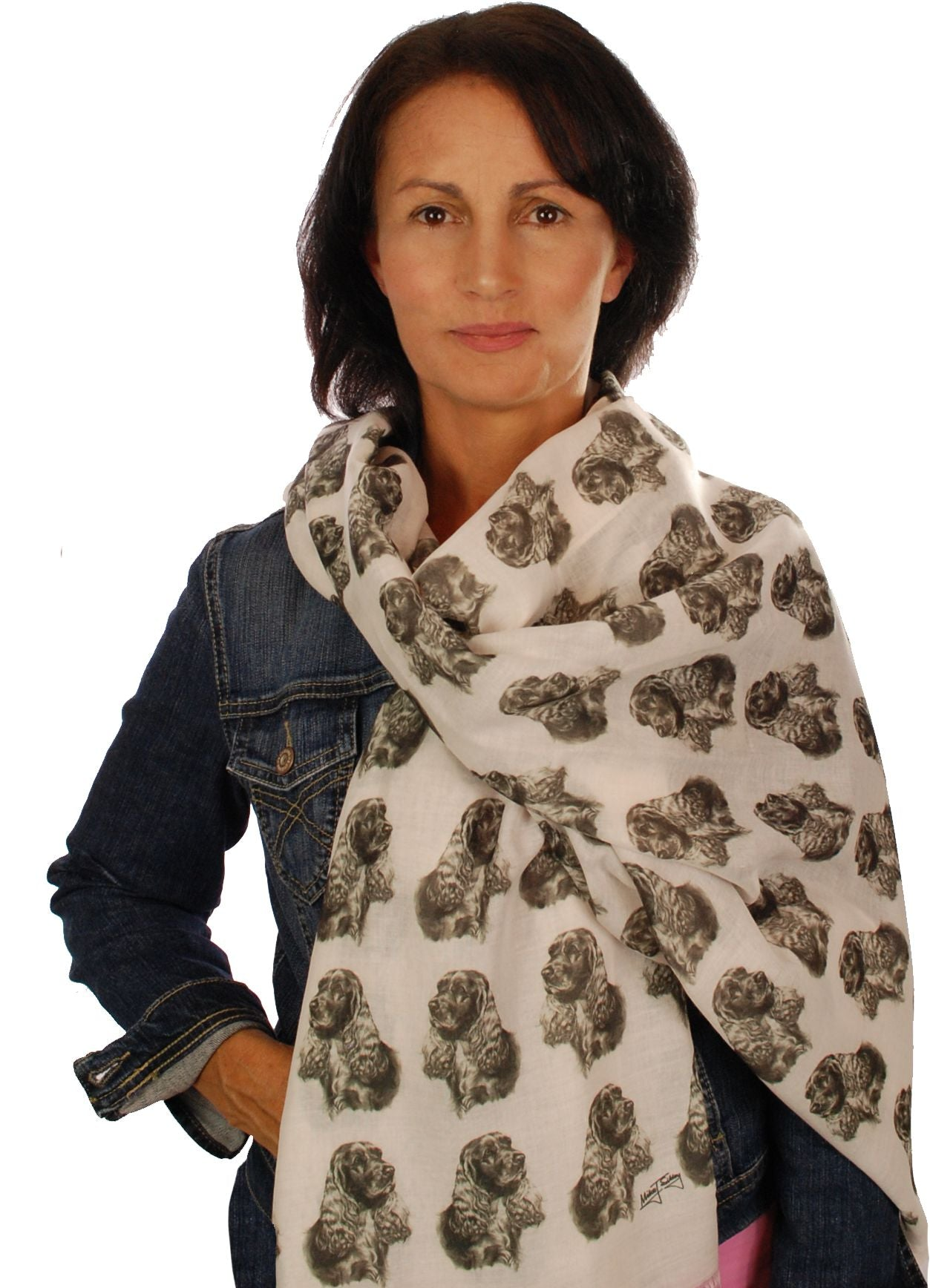 Cocker Spaniel Scarf - Mike Sibley Cocker Spaniel design Ladies Fashion Scarf – Hand Printed in the UK