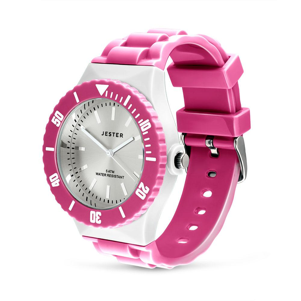 Pink & White Water Resistant Jester Watch
