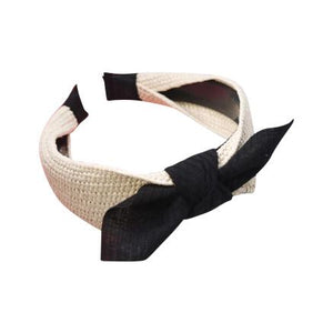 Rattan and Black Cotton Bow Headband