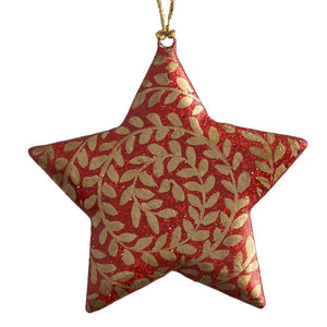 Six Red and Gold Paper Maché Stars