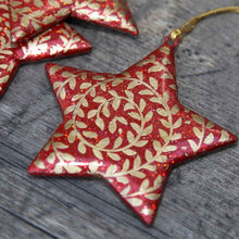 Load image into Gallery viewer, Six Red and Gold Paper Maché Stars