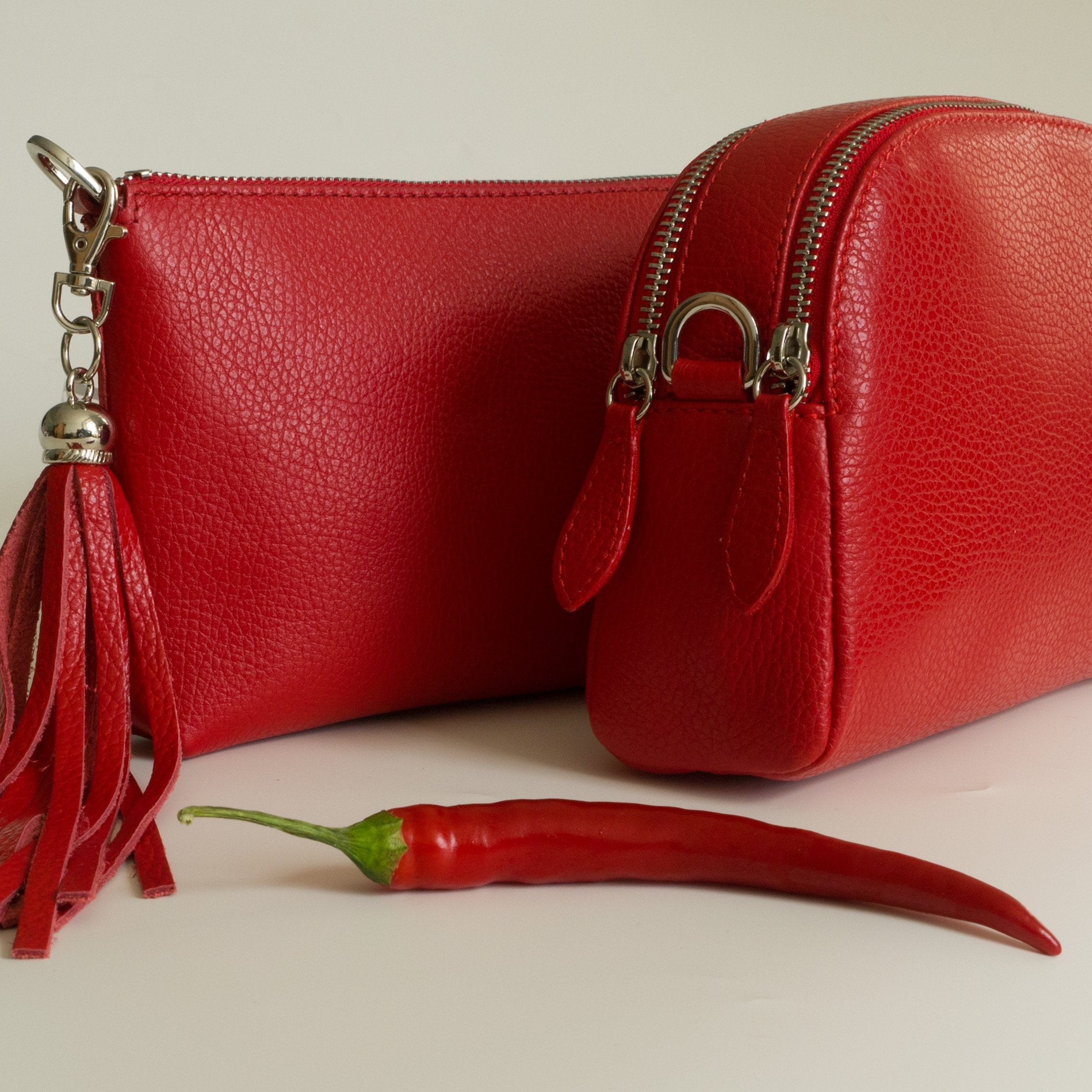Clutch bag - Bright red dollaro leather Forget Me Not