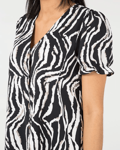 Ruffle Hem Animal Print Dress