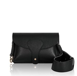Saskia Leather Black Body Bag