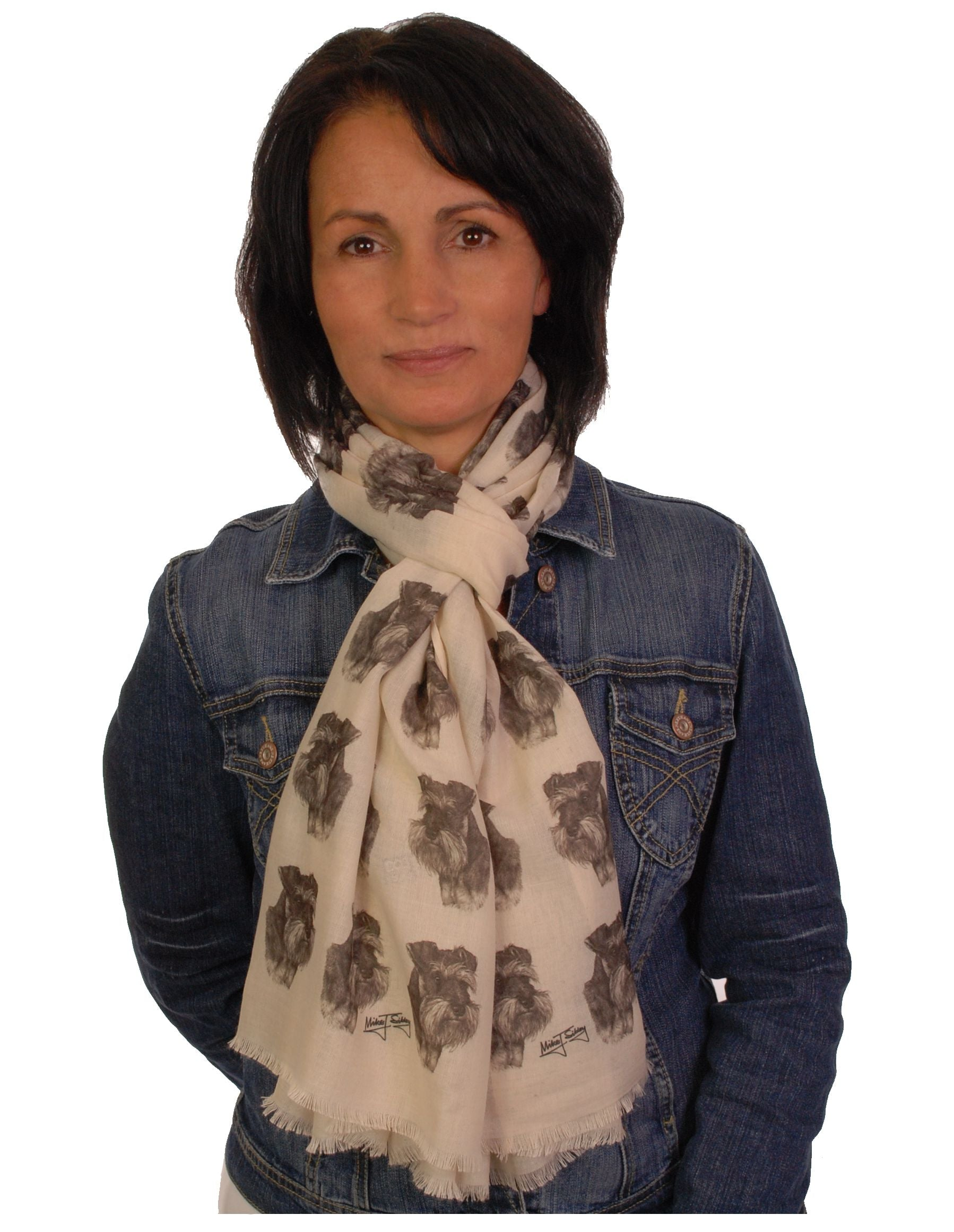 Schnauzer Scarf - Mike Sibley Schnauzer Design Ladies Fashion Scarf - Hand Printed In The UK