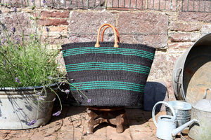 Large Sisal Basket, Graphite and Thin Green Stripes
