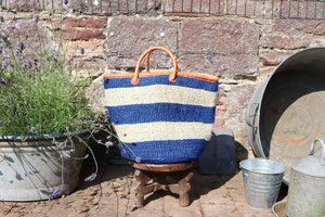 Medium Sisal Basket, Thick Blue and White Stripes