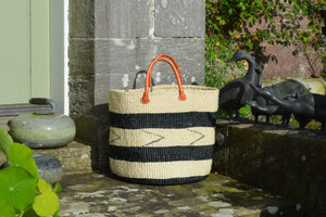 Medium Sisal Basket, Ivory with Thick Black Stripes