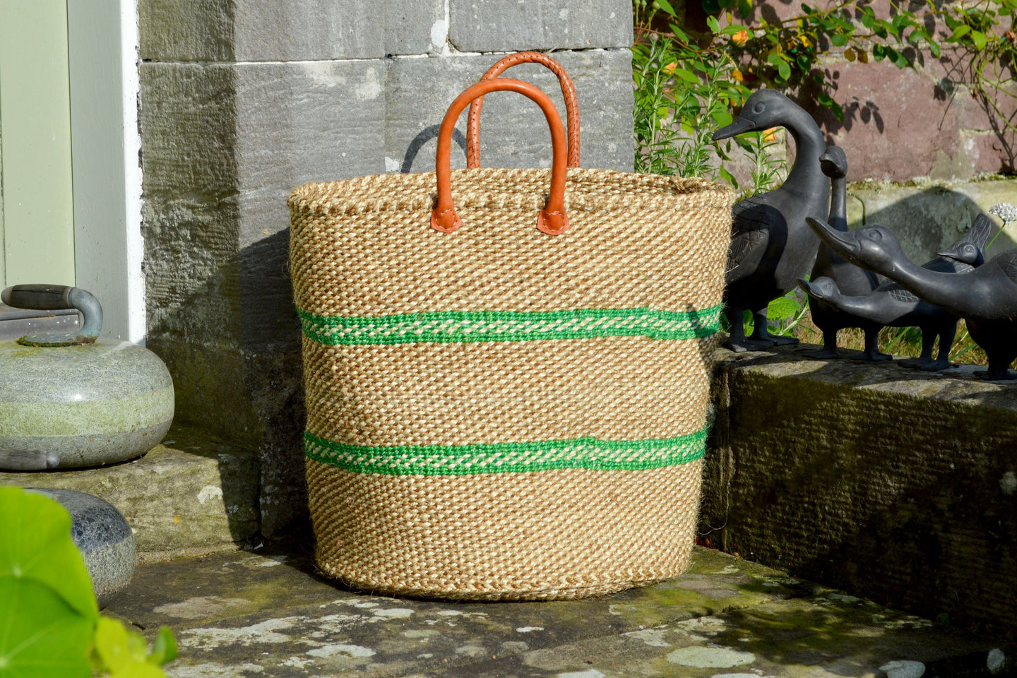 Extra Large Sisal Basket, Thin Apple Green Stripes on Beige and Ivory Fleck