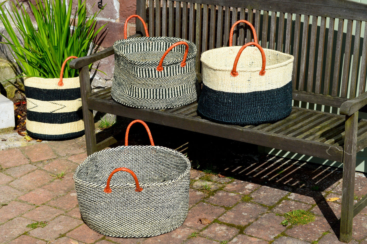 Extra Wide Sisal Baskets, in Black and White