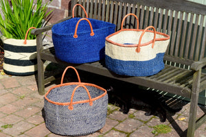 Extra Wide Sisal Baskets, in Blues
