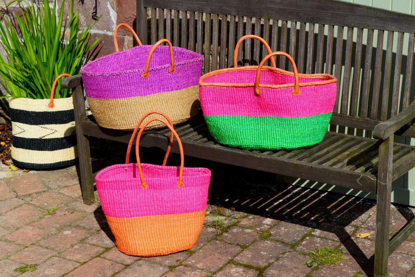Extra Wide Sisal Baskets, in Pinks