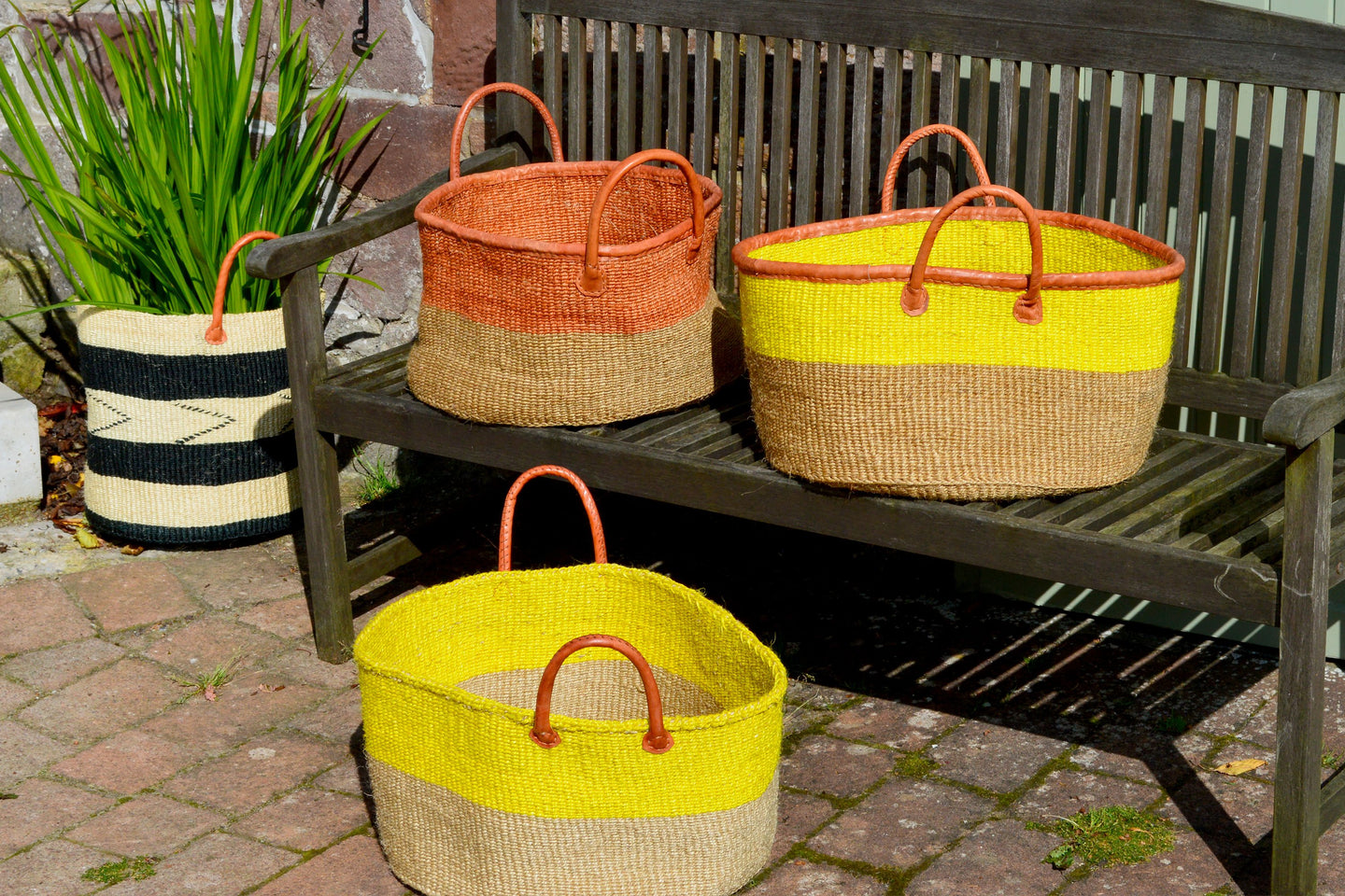 Extra Wide Sisal Baskets, in Sunshine Colours