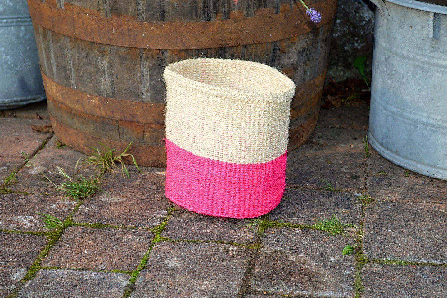 Sisal Bin, Cream and Pink Thick Stripe