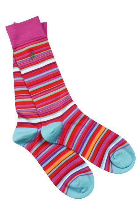Pink and Blue Narrow Striped Bamboo Socks
