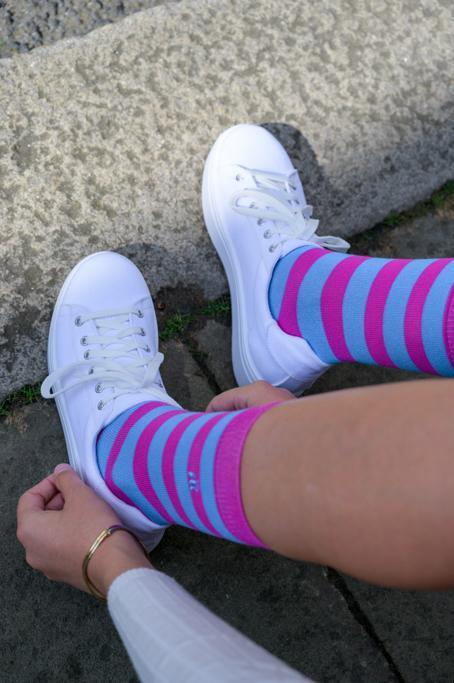 Pink and Blue Striped Bamboo Socks