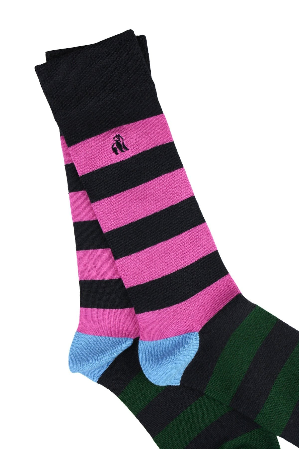 Pink, Blue and Green Striped Bamboo Socks