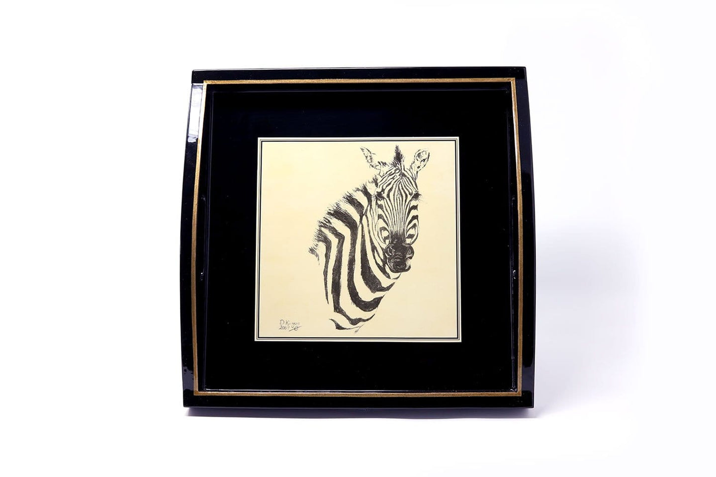 Square Tray, Zebra Head Sketch on Black
