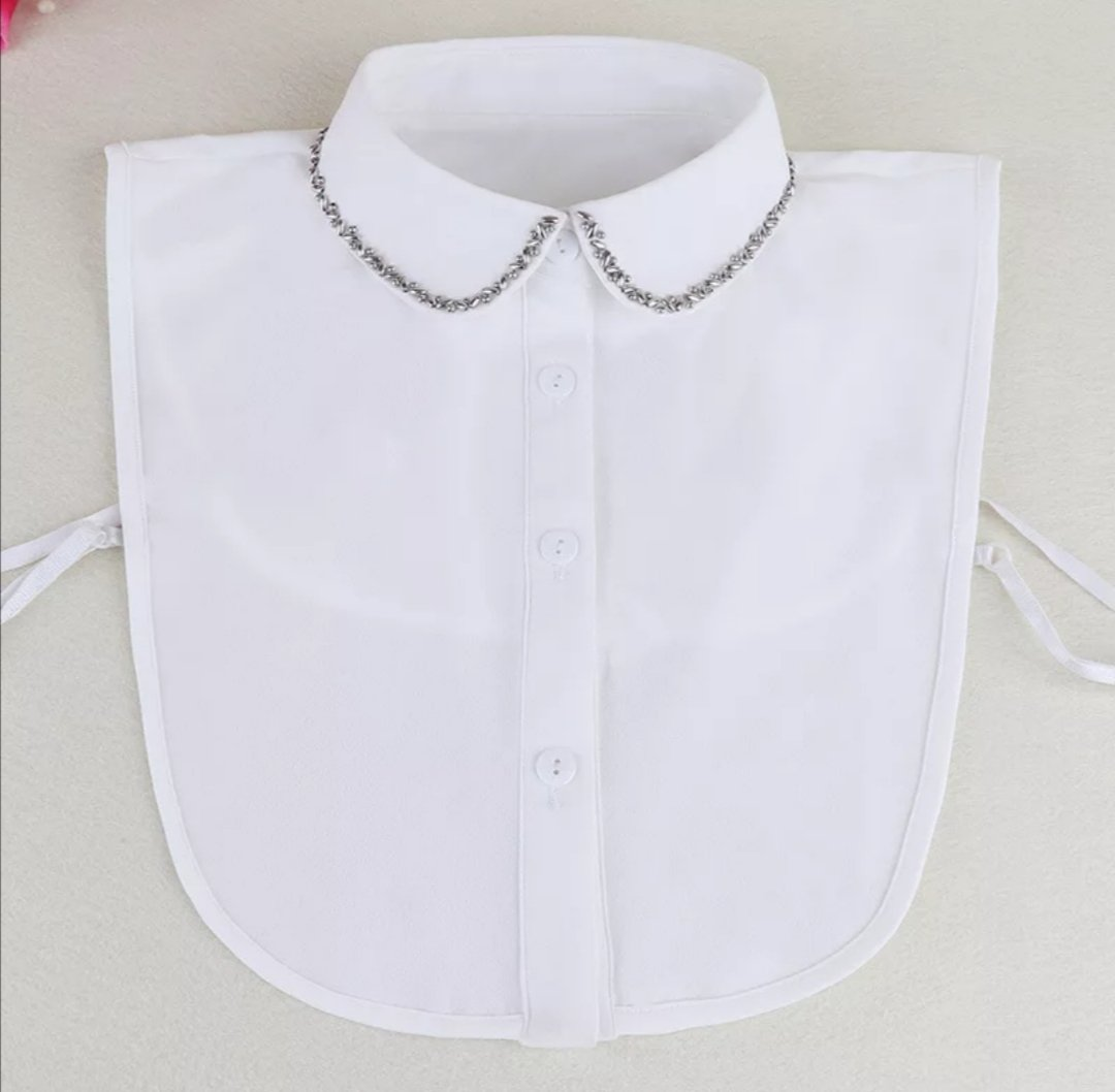 Detachable Silver Studded Peter Pan Faux Shirt Collar - White