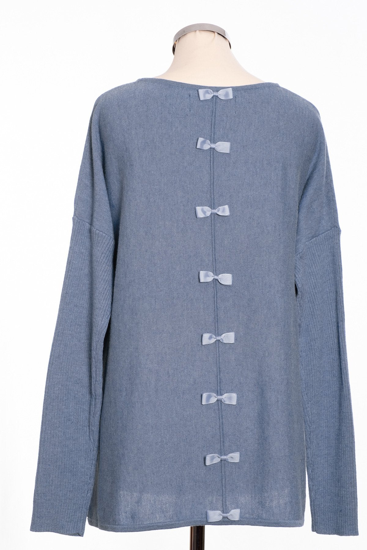 Bow back jumper, sky blue