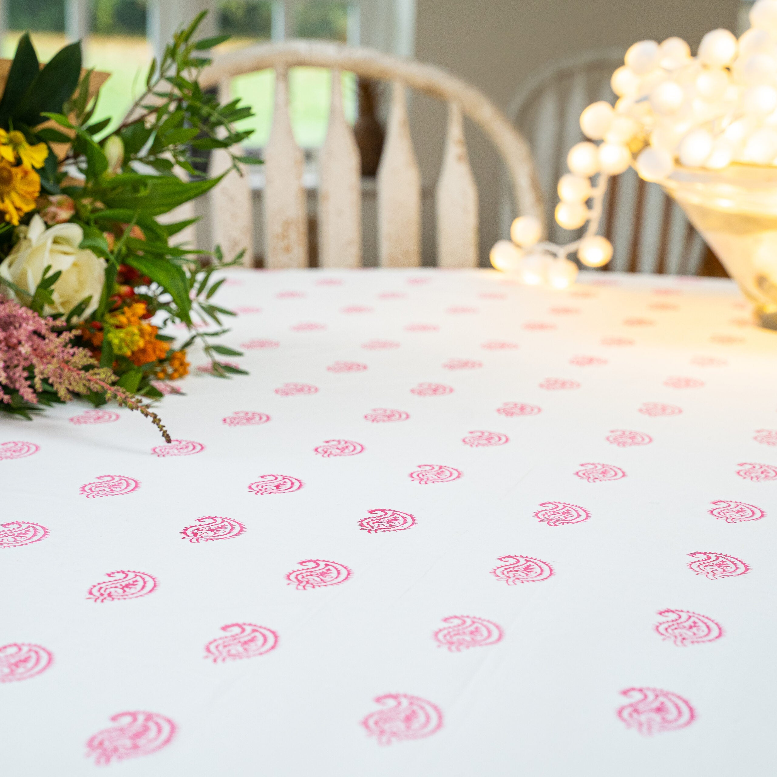 Vintage Pink Paisley Table Cloth
