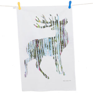 TEA TOWEL IN A GIFT BAG - Single silvery Stag