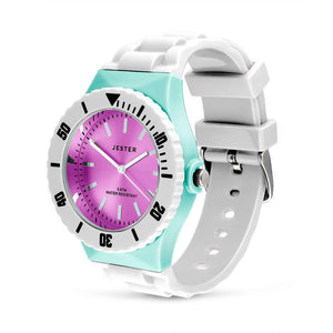 Turquoise and Pink Water Resistant Jester Watch