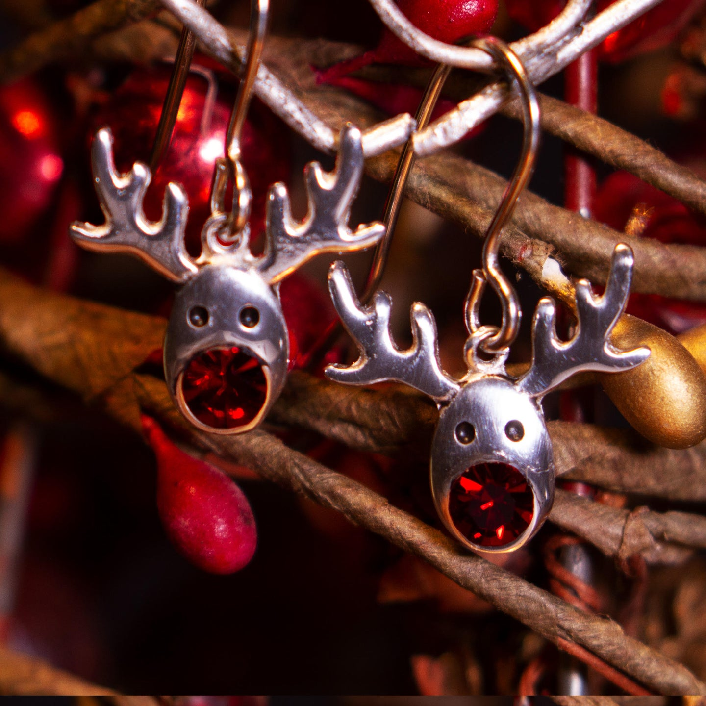 Reindeer Crystal Drop earrings