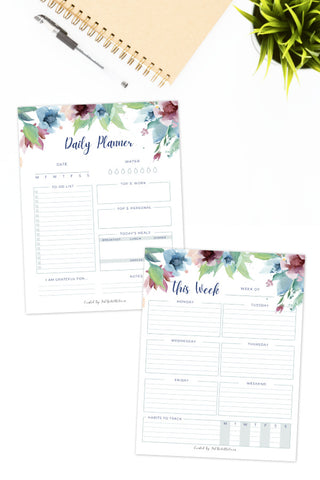Daily and Weekly Planner Printables (Floral)