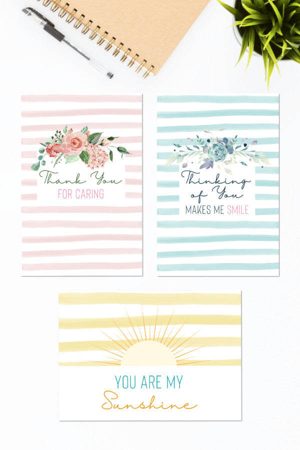 Thinking of You Striped Printable Card Bundle (3 Cards)